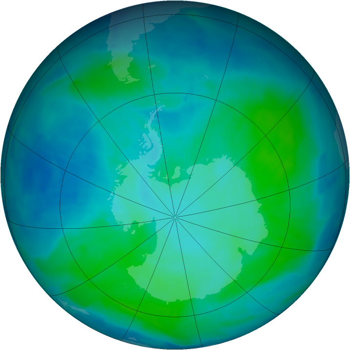 Antarctic ozone map for 29 January 2012